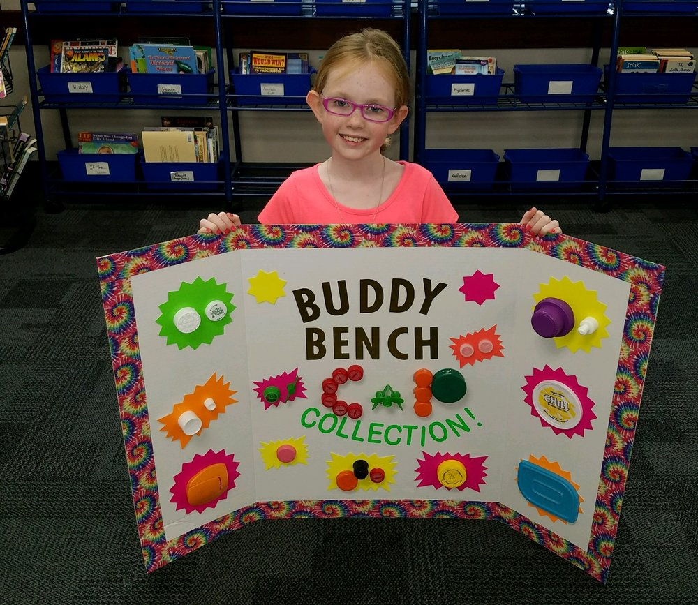 Step 1 : Decide what kind of Buddy Bench material. Sammie chose to collect recycled plastic caps and lids and have them melted into Buddy Benches!