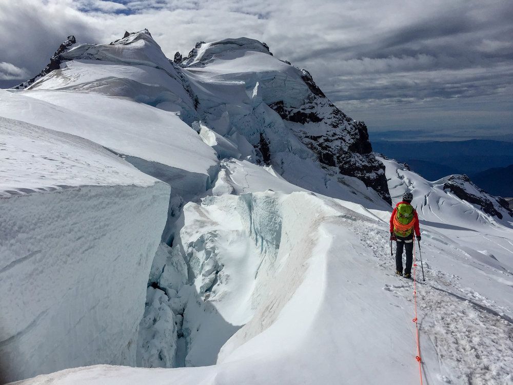 Descending from the North Ridge of Mount Baker. Photo credit: Mountain Bureau, LLC.