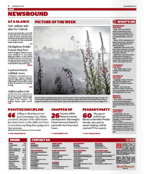 Fires destroy the bog in County Meath, Meath Chronicle.