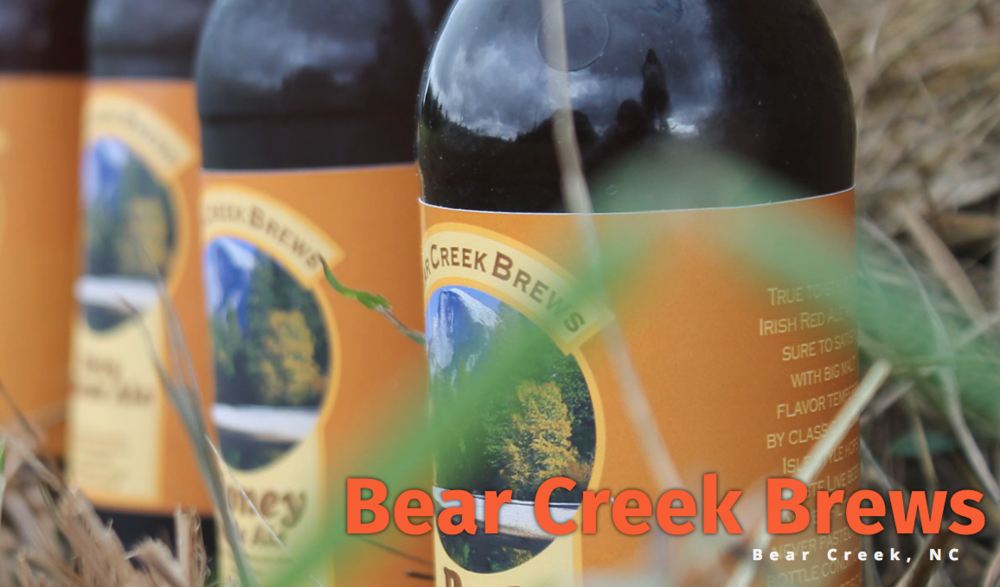 Bear Creek Brews - A Nano-Brewery, hidden in the middle of 38 acres of woods in the heart of North Carolina. All the ingredients are as fresh as possible, some are even home grown. American malts, hops, and yeast are the mainstay of Bear Creek beers.