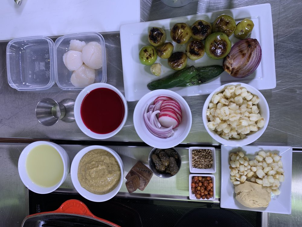 Mise En Place - Chef Erika gets ready to prepare prickly pear marinated scallops at International Gastronomy Forum