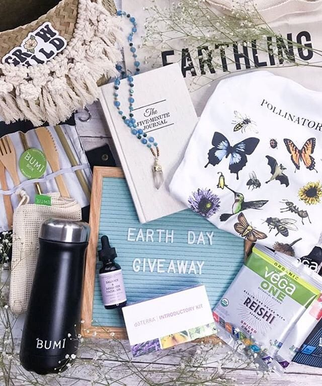 🌏EARTH DAY GIVEAWAY🌍 CLOSED ⠀⠀⠀⠀⠀⠀⠀⠀⠀ winner is the beautiful @aly_gras! ⠀ In celebration of Earth Day coming up, we've teamed up with some awesome ladies to provide the Earth Day bundle of ya dreams! ✨ ⠀ WHAT YOU'LL WIN? 💚 One tee + Tote from @educatedearthling 💚 One 5 Minute Journal by @intelligentchange 💚 One dōTerra starter kit from @oylwithme 💚 One Zero-Waste Starter Kit from @bumibox 💚 Brighten + Balance Facial Oil by @Earthlingfal 💚 Vega Protein Samplers from @greencollean 💚 One Human Design Chart Reading by @educating.earthlings 💚 One Distant Reiki session with @emilyzygmunt 💚 Homemade Crystal Necklaces from @consciousnessness 💚 Homemade Basket from @grow.wild.nco ⠀ HOW TO WIN? 1. Follow all of the accounts that @earthdaygiveaway is following 2. Tag 3 friends in the comments, and tell us how you're celebrating EARTH DAY 3. Every comment with different tagged accounts is an additional entry 4. Sharing this post in your stories and tagging one of us counts as an additional 5 entries 5. Posting our post to your feed & tagging us counts as an additional 10 entries! ⠀ Winner will be announced on Earth Day, 4/22. GOOD LUCK + HAPPY EARTH DAY! 🦋💚🌞✨ ⠀ This giveaway is not affiliated with Instagram in any way. Open to residents in the US + CANADA.