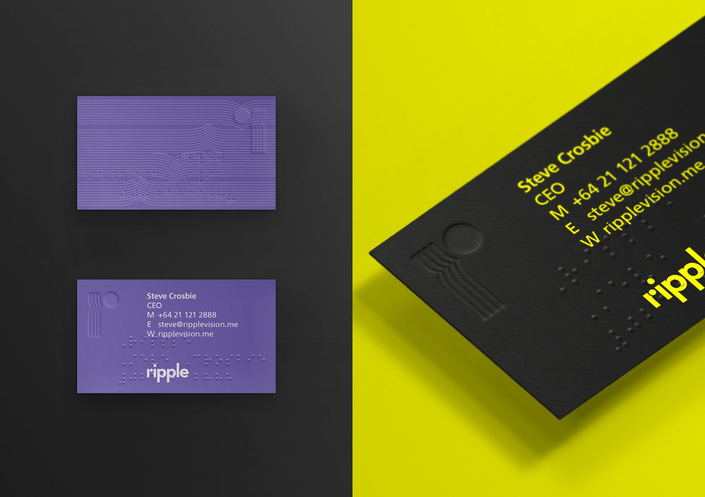Ripple braille business cards