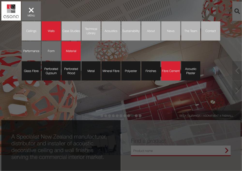 Asona navigation menu