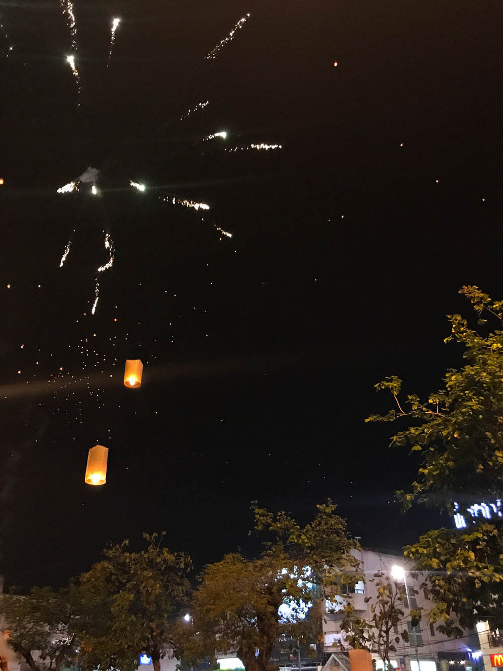 Thailand - Chiang Mai - New Years Eve - floating lanterns