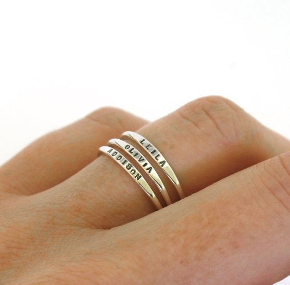Stackable Name Rings - Only $25 on Etsy