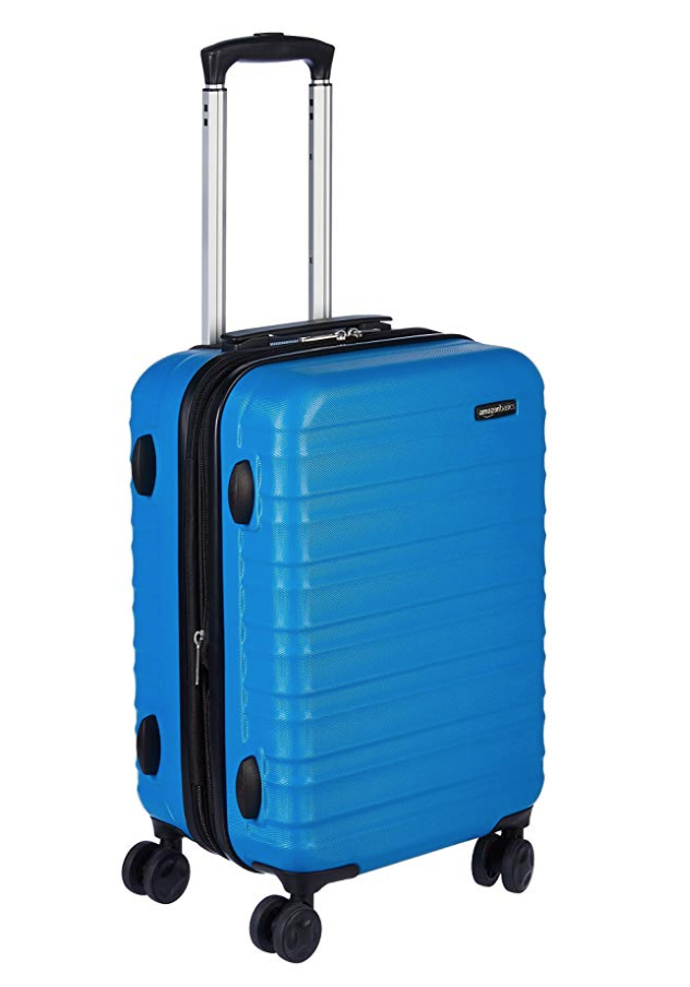 AmazonBasics Hardside Spinner Luggage - 20-Inch, Carry-On - On AmazonCarry-ons are important, this model has maximum capacity, is light weight, has four wheels to maneuver around easily AND comes in a variety of colors (blue, green, black, red, orange, etc)!