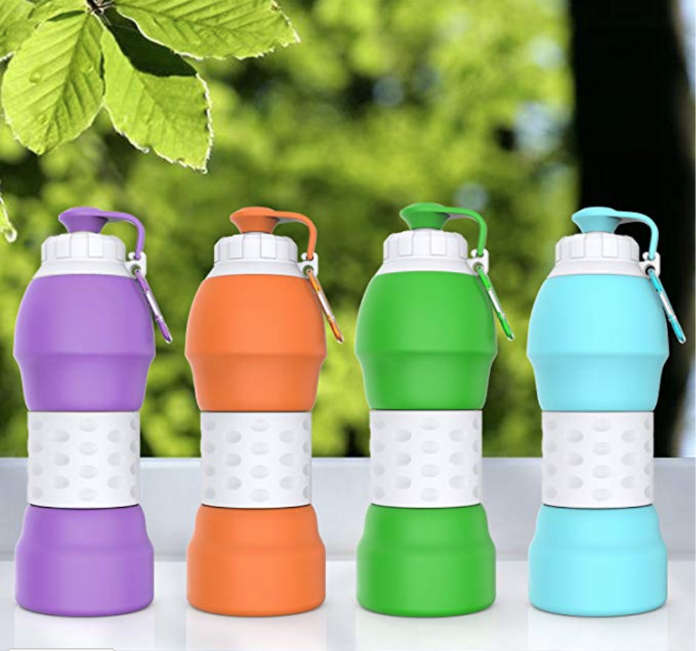 Collapsible Water Bottle - On AmazonGreat travel accessory - Lightweight Silicone Travel Mug. Even has a filter for coffee or tea! Could be good for the office, too!