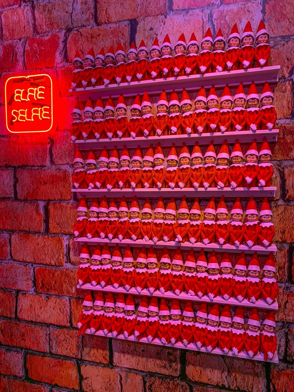 Fa La Land Pop Up Los Angeles elf on a shelf - elfie selfie