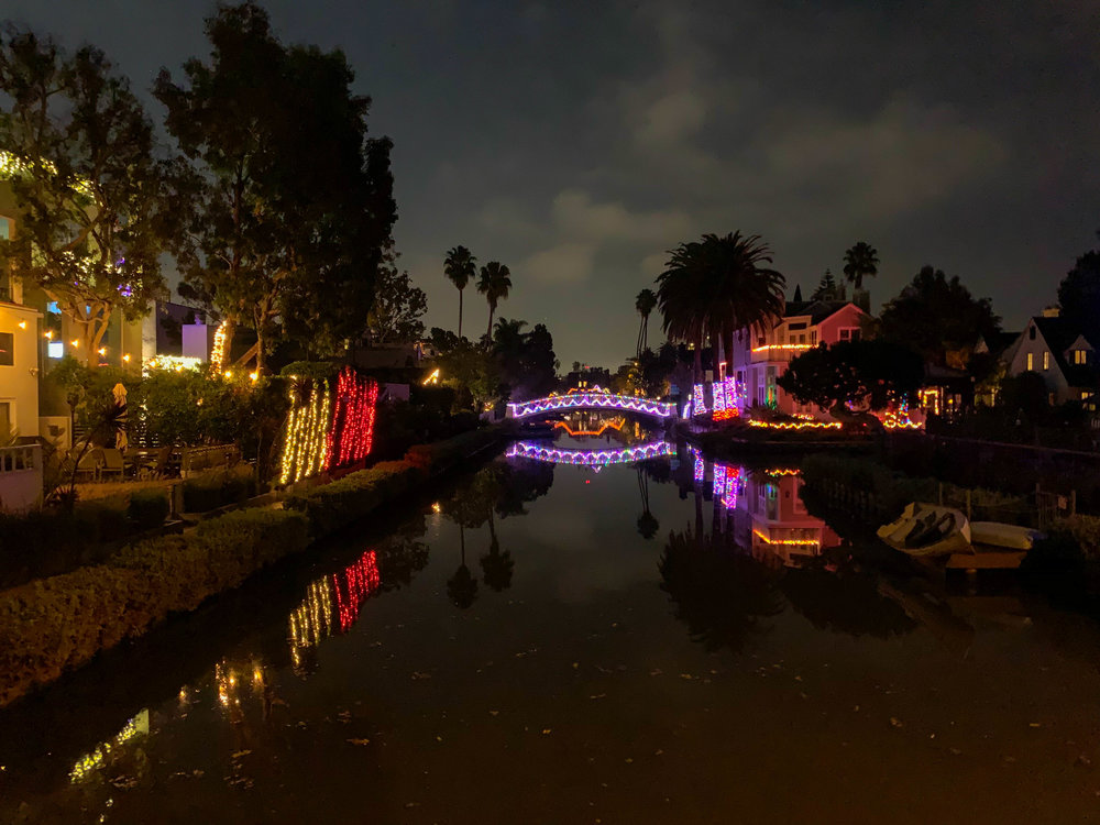Christmas Lights in Los Angeles Venice Canals - Bridge Decorations