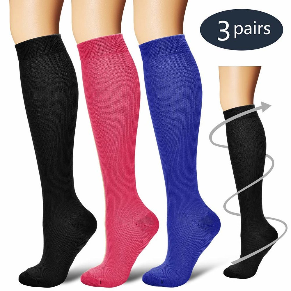 Compression Socks,(3 Pairs)  - Women & Men - Best Running, Athletic Sports, Crossfit, Flight Travelon AMAZON and so many different colors and designs to choose from!