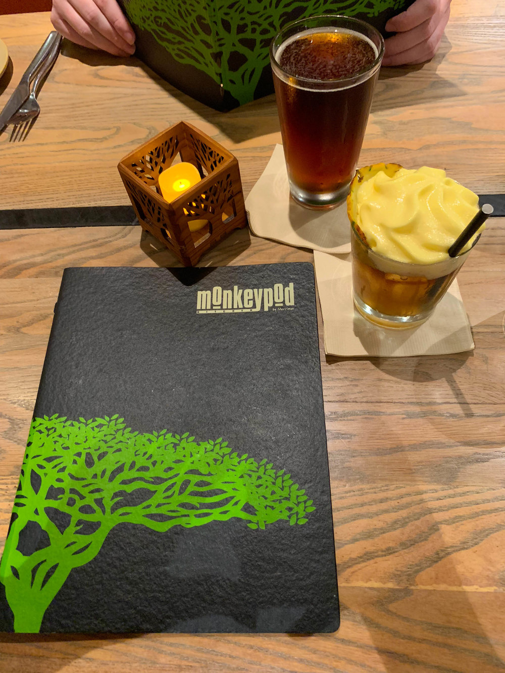 Maui Hawaii Monkeypod menu and drinks - Mai tai
