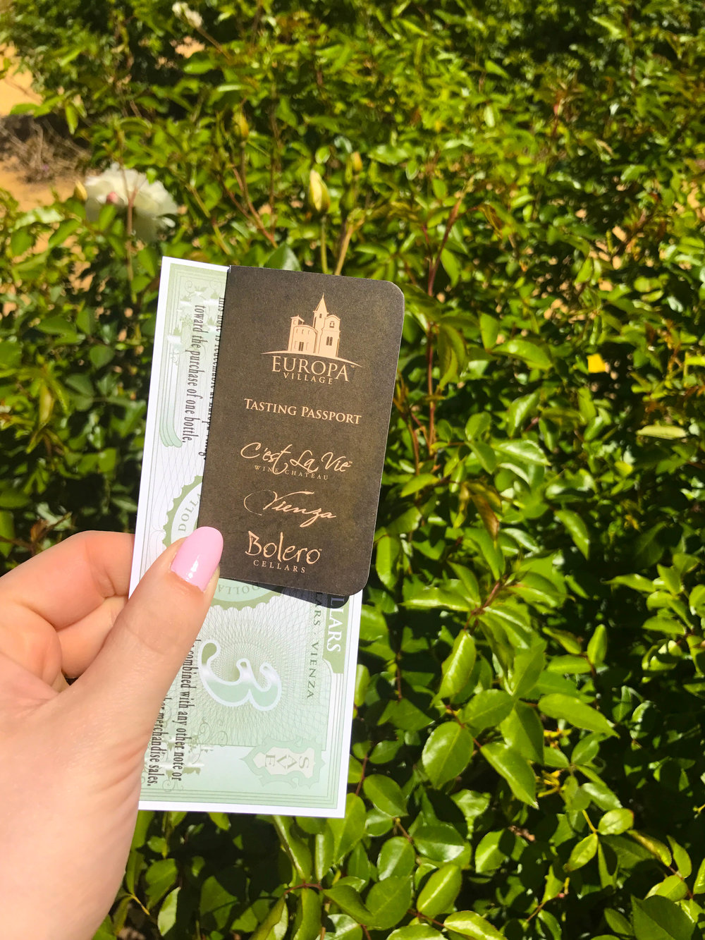 EUROPA VILLAGE WINE TASTING PASSPORT AND COUPON