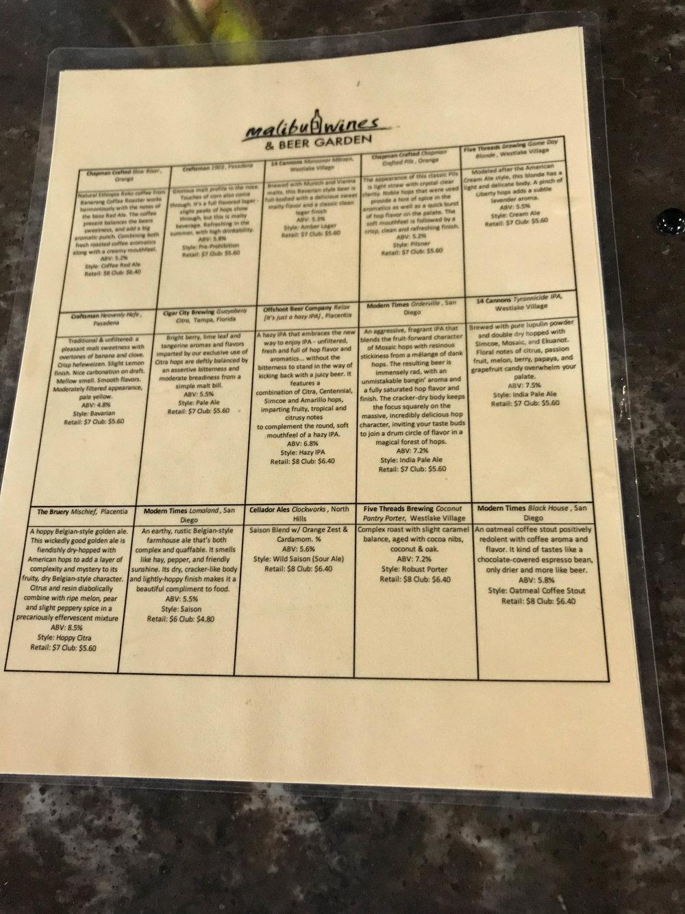 Malibu Wine and Beer Garden-beer list menu.jpg