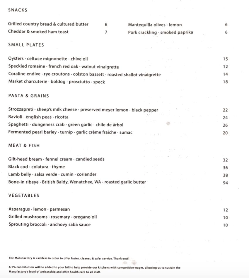 Alameda Supper Club - Food Menu