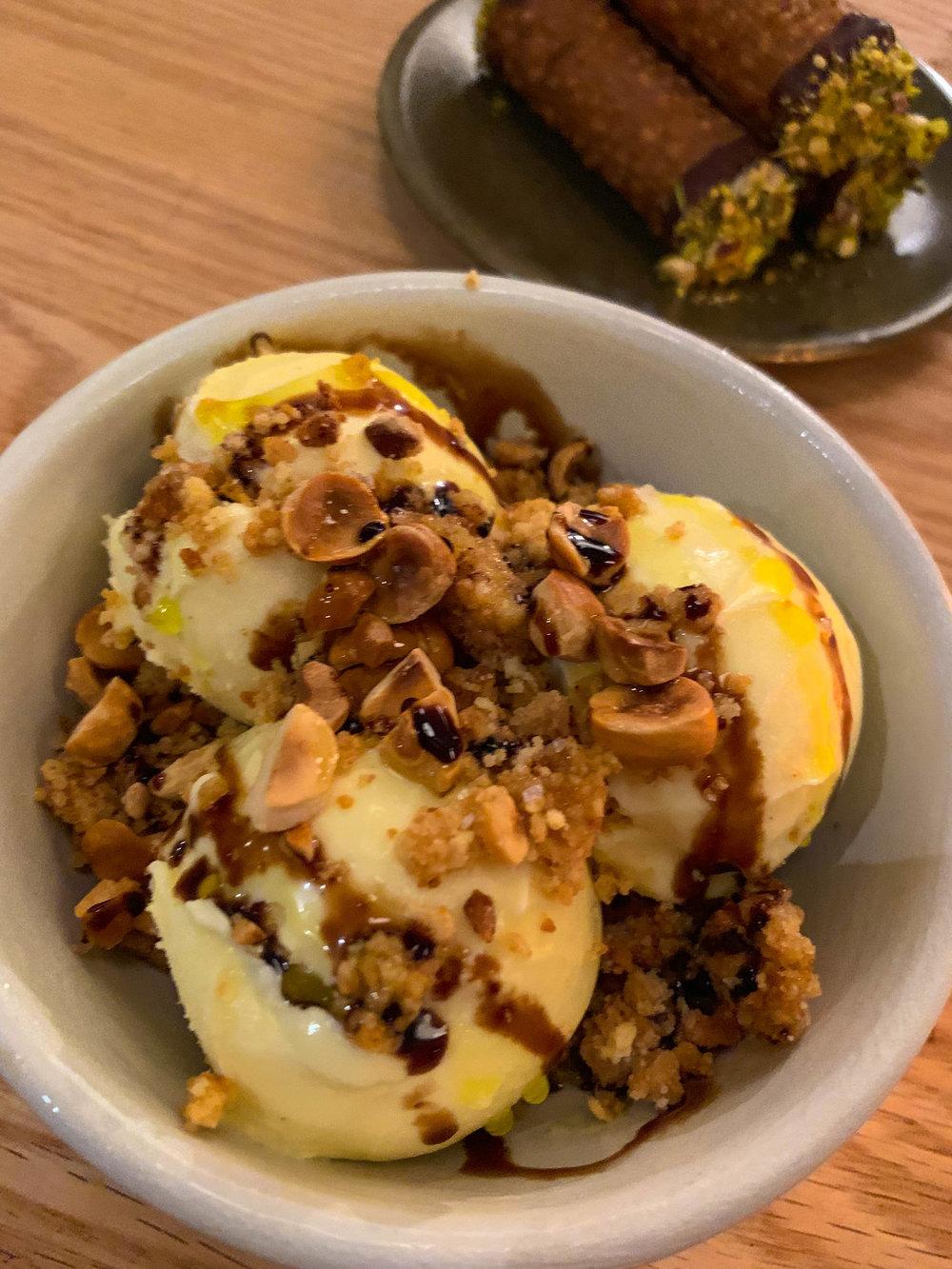 Ice Cream - Hazelnut, Balsamic, olive oil, orange-anise crumble, maldon