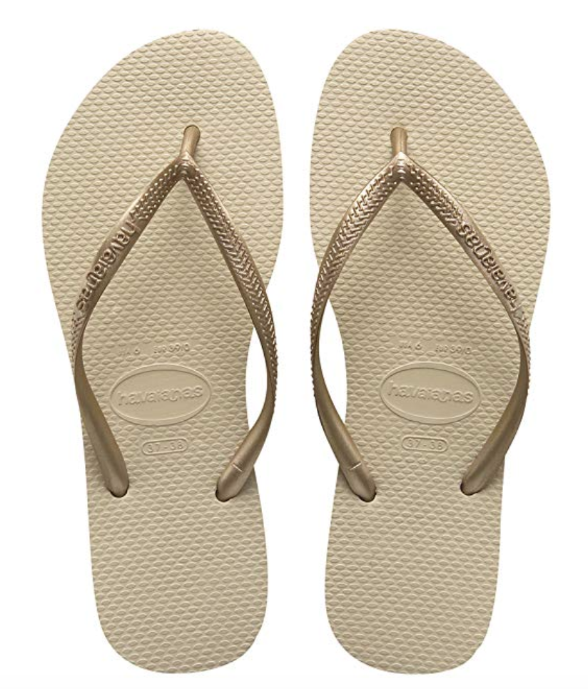 Havianas Slim Flip Flops - Various colors and prints available on Amazon.com for $14