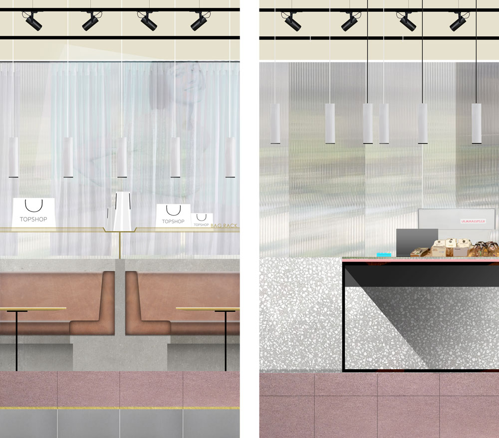 Proposed elevations for Topshop Café.