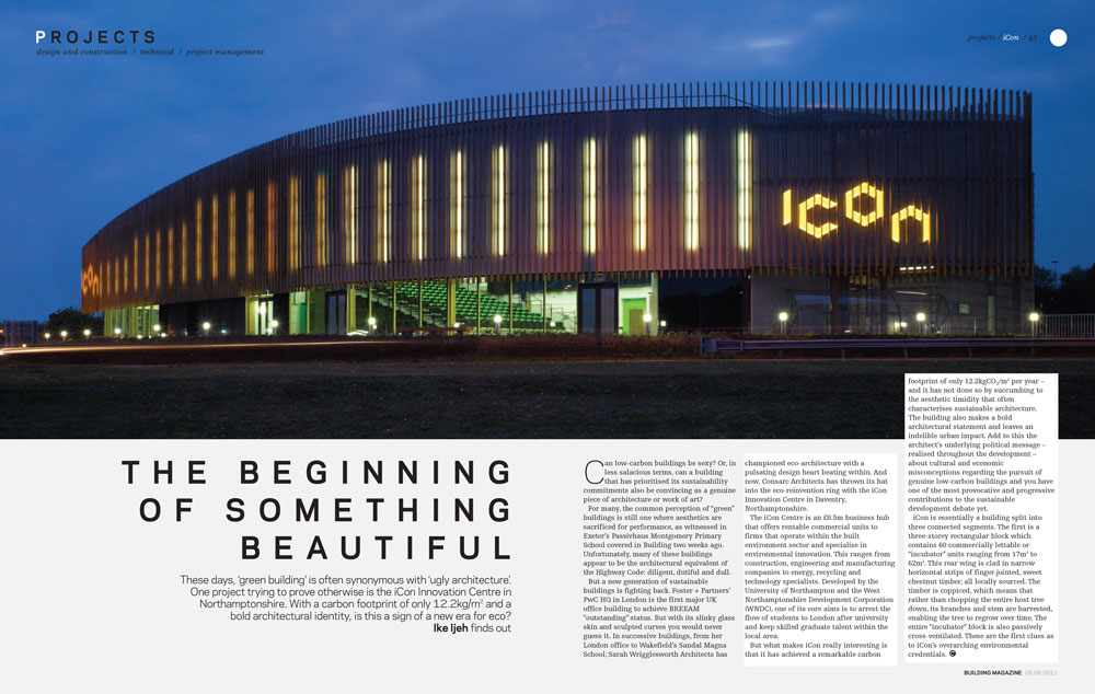 iCon featuring at Building Magazine .