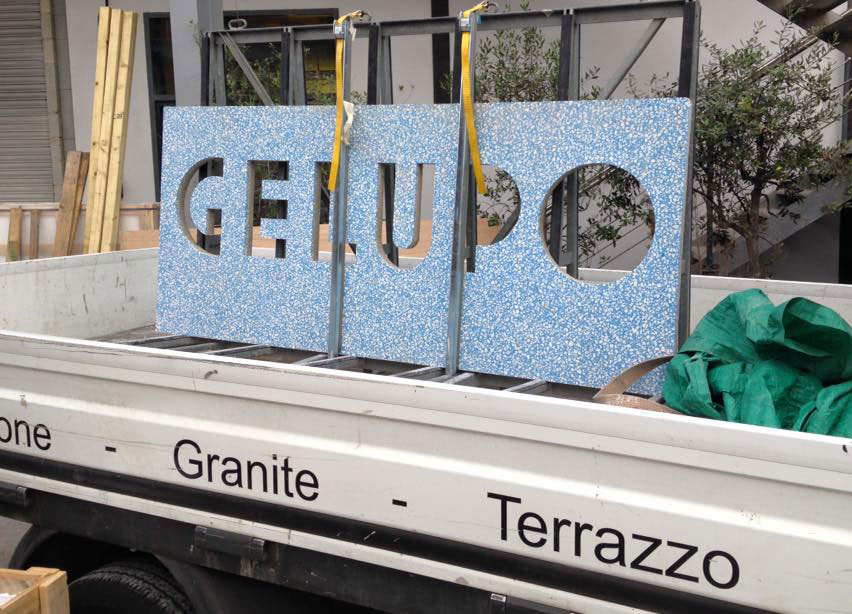 Custom made  terrazzo  counter on the move!