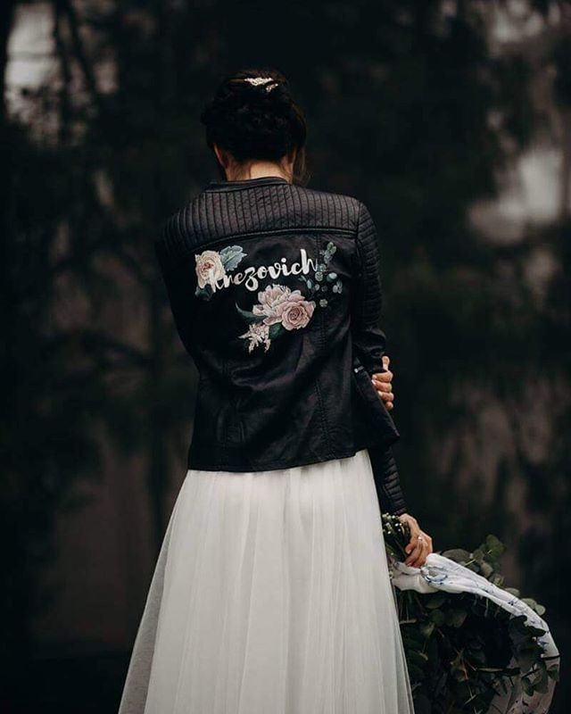 My first bridal jacket😍😍😍 The beautiful @rhied in her customized wedding jacket, captured by the super talented @thunderandlove SO EXCITING TO SEE THESE PHOTOS! . . . Rhiannon chose to have her new surname on her jacket, and florals to match her bouquet: ROSES: Love PEONIES: Romance ASTILBE: Dedication to a loved one