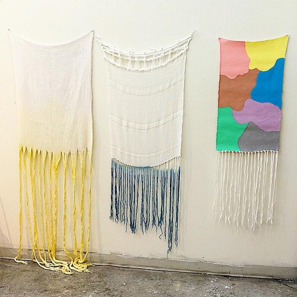 Hanan Sharifa, Hand-woven cotton and silk dip dyed in yellow 34 x 78, hand-woven cotton dip dyed in indigo 24 x 36, hand-woven cotton and oil paint 20 x 30.