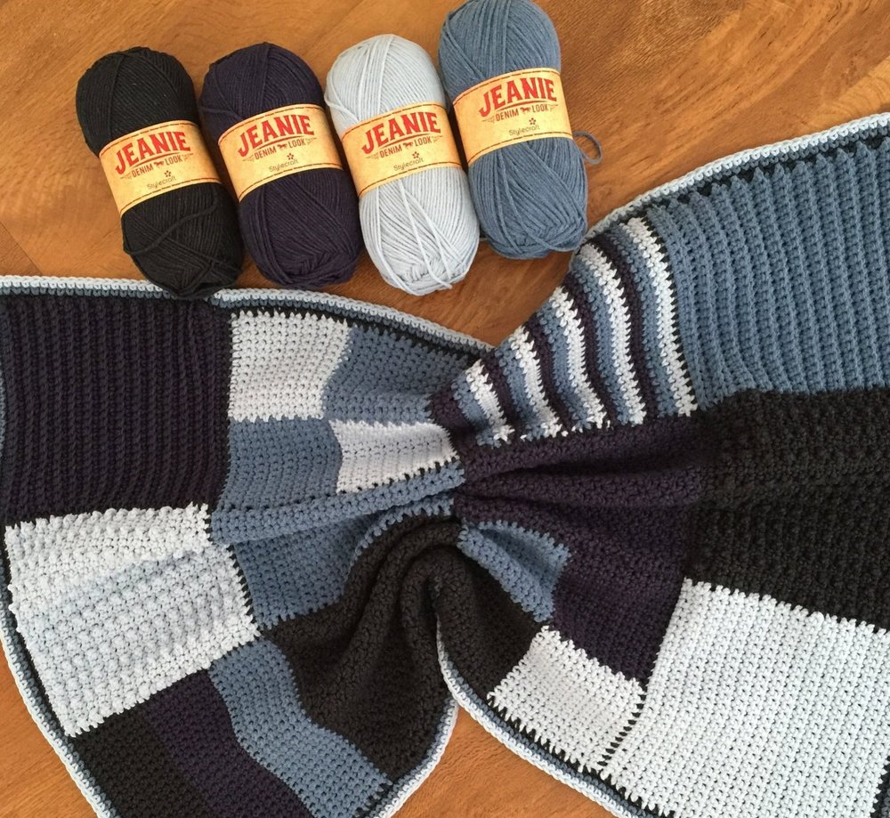 Jeanie Blanket Crochet Blanket and yarn pack