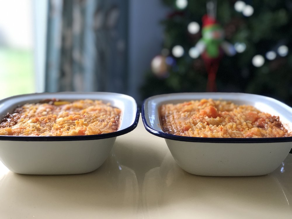 Chickpea and green lentil shepherds pie with sweet potato, parsnip and carrot mash.