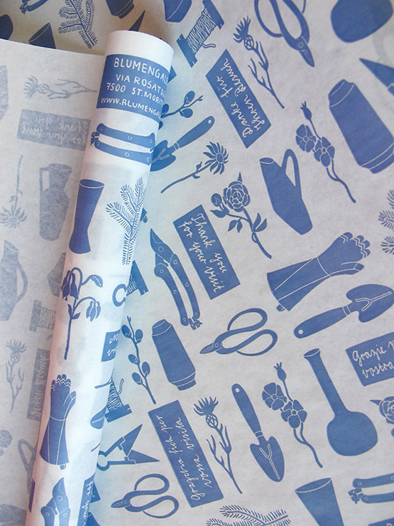 Wrapping paper,  Blumengalerie St. Moritz