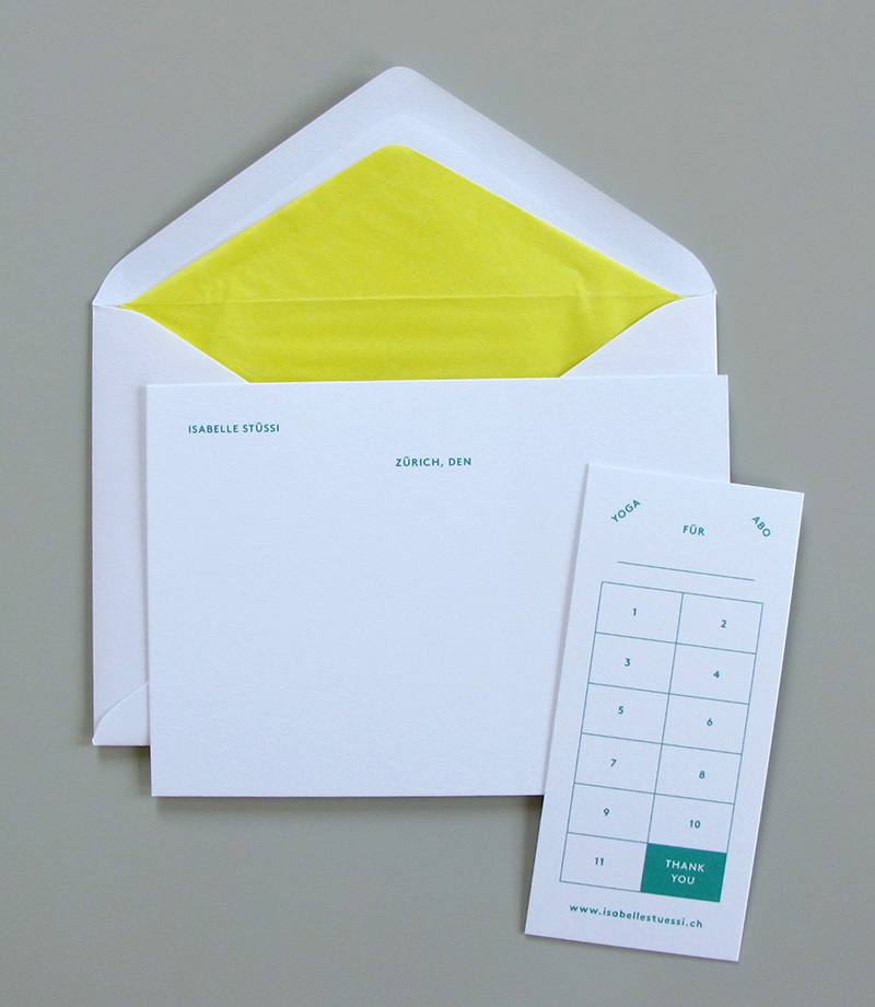 Personal stationery, Yoga studio