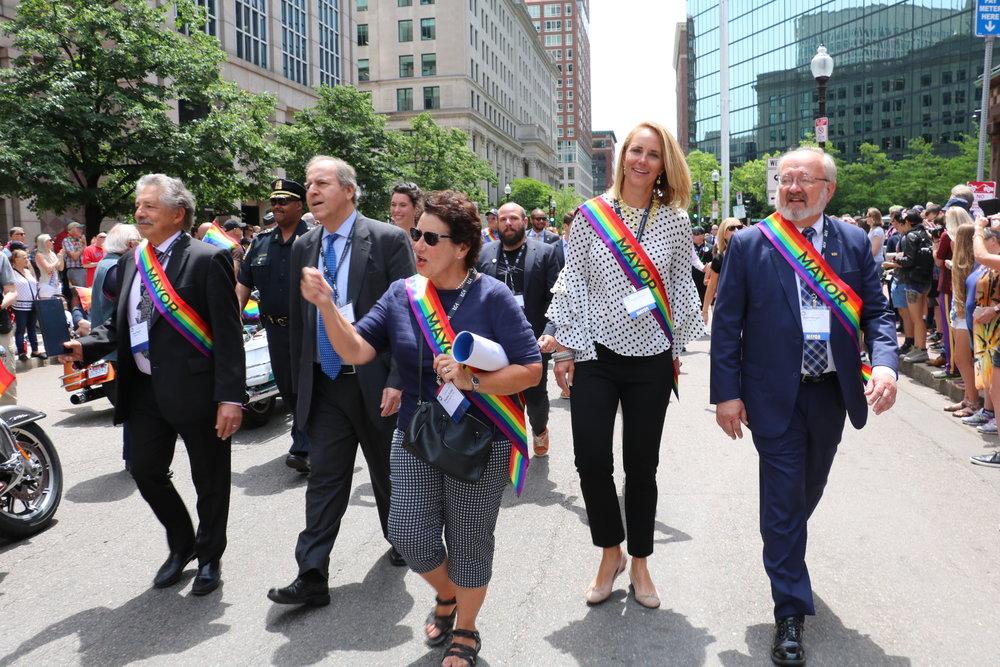 Paul Soglin and Mayor March in Boston Gay Pride Parade June 2018