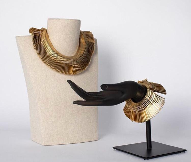 Brass Key Necklace and Bracelet by Oumaima Sarah Karmoune