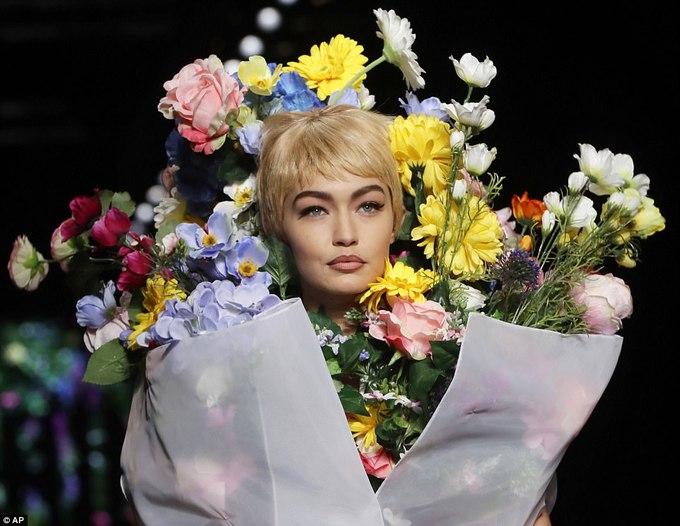 Gigi Hadid embracing florals avant-garde style