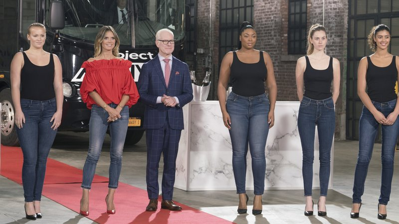A group of models from Season 16 of Project Runway