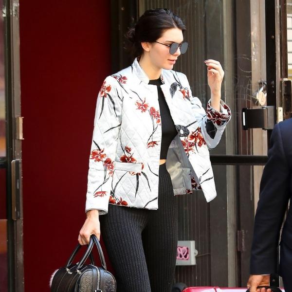 Kendall Jenner wearing a Ganni floral jacket