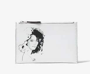 6. Michael Kors Collection Bancroft Portrait Print Calf Leather Pouch