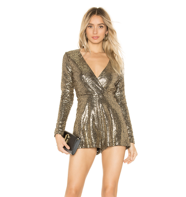 9. by the way. Devonne Surplice Romper in Gold