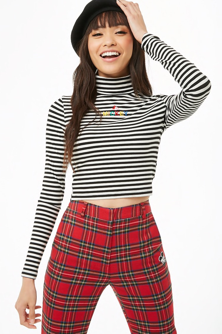 Mickey Mouse Striped Crop Top