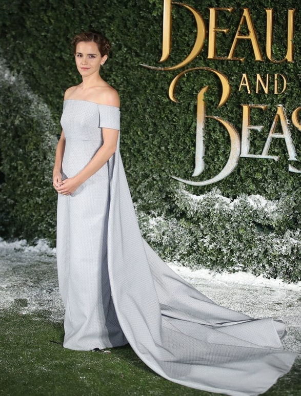 Watson wearing Givenchy Haute Couture on the Beauty and the Beast promo tour