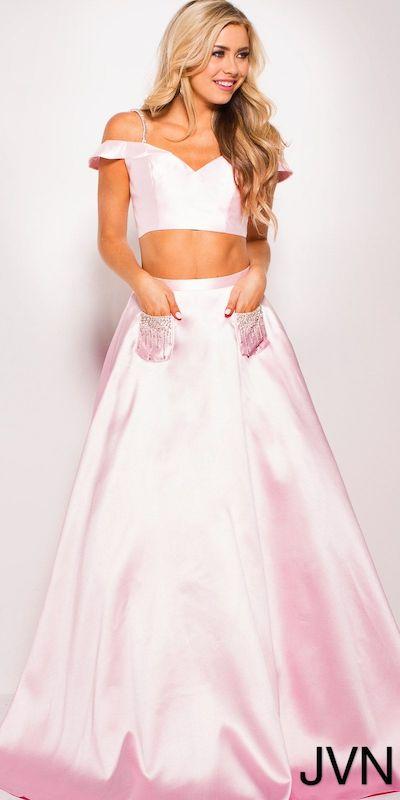 VN by Jovani Off the Shoulder Two Piece Patch Pocket Prom Dress