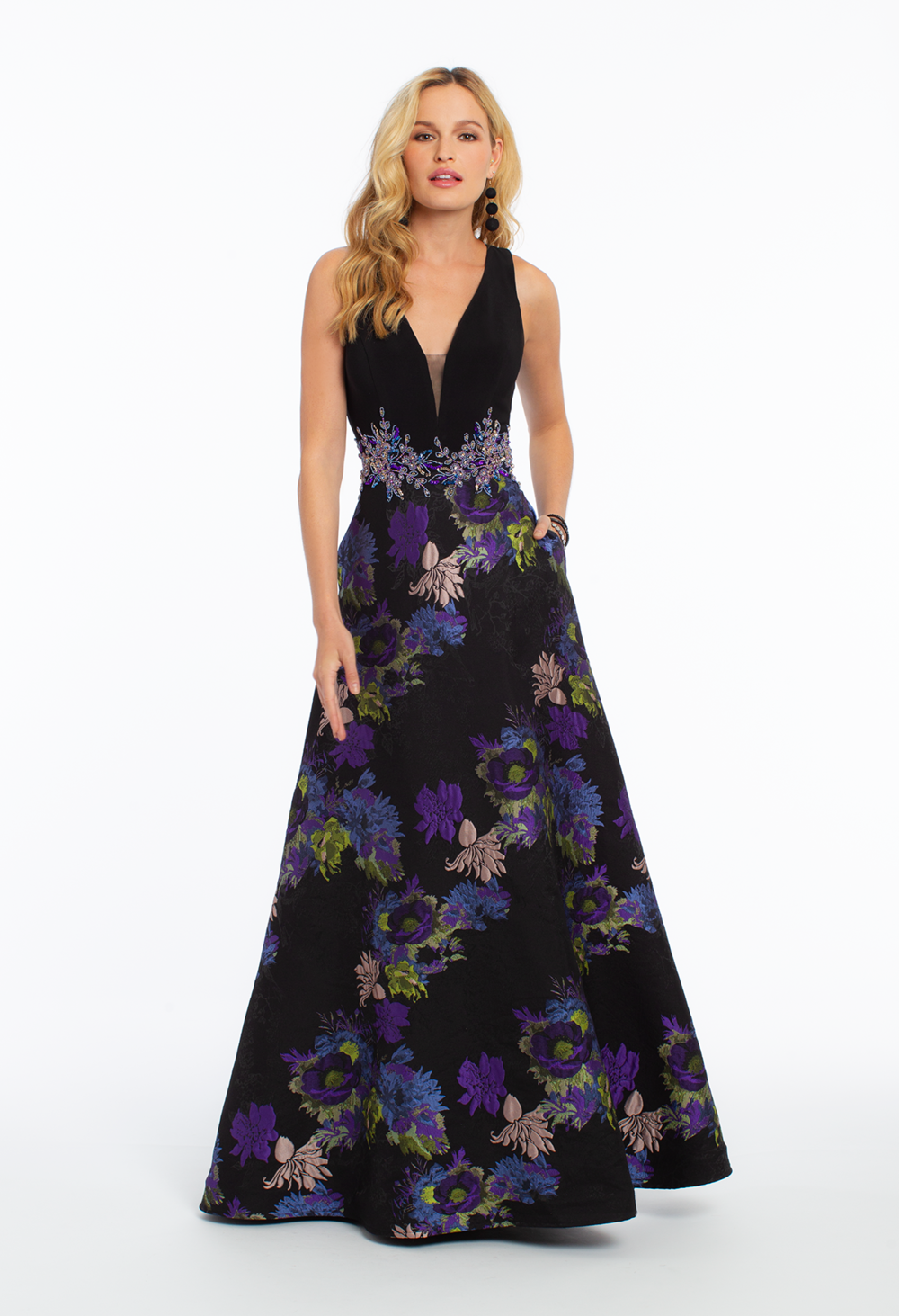 Camille La Vie Jersey Tank Brocade Ballgown with Keyhole Back