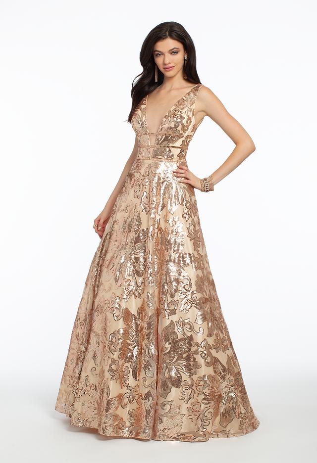 Camille La Vie Floral Sequin Triple Strap Ball Gown