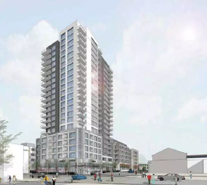 An architectural drawing of Homestead's proposed 23-storey building bordering King, Queen and Ontario Streets.