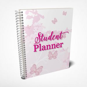 Printable student planner with pretty pink butterflies