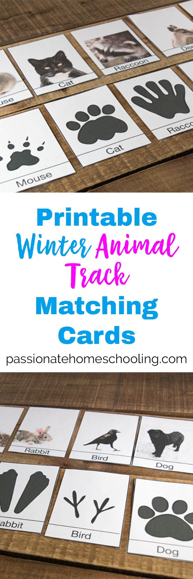 """I love these free printable animal track cards, they are perfect for helping kids to identify animals around your home in the winter. A great animal matching game for preschool to 2nd grade. #freeprintables #homeschool #preschool #naturestudy #unitstudy"""""""
