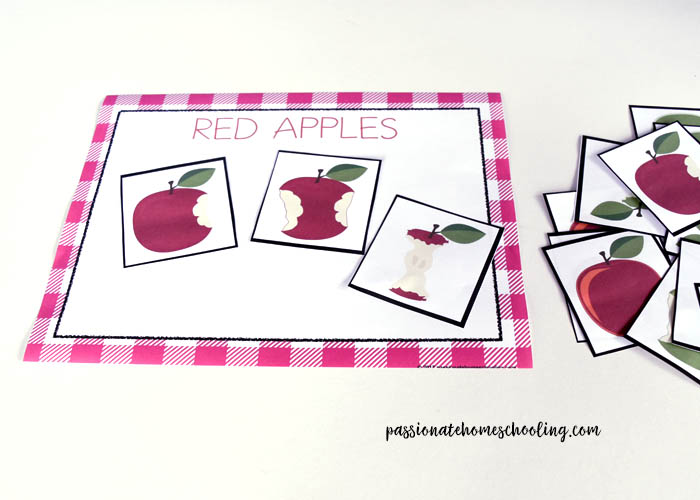 Red Apple Sorting Printable