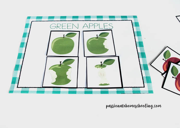 Green Apple Sorting Printable