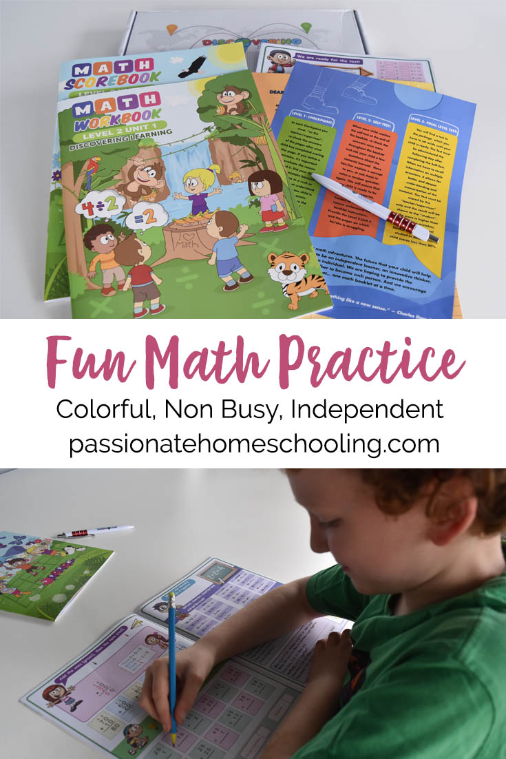 Fun math practice with colorful workbooks from Discovering Learning. Love that these can be used for independent math practice for kids!