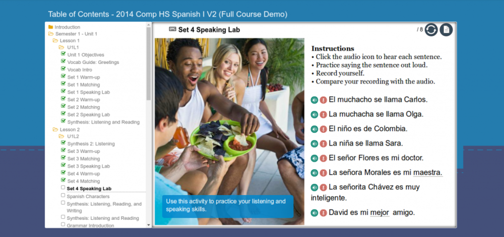 Interactive Spanish course lessons