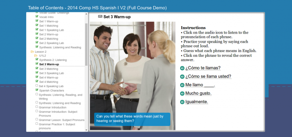 Online interactive Spanish lessons from Middlebury Interactive Languages